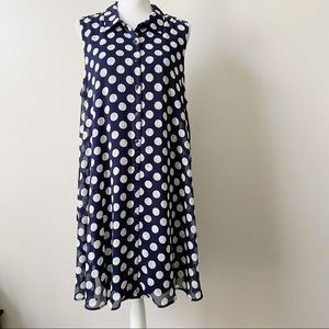 Cato Navy and White Swing Dress with Pockets